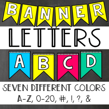 Banner Letters, Numbers, and Symbols - 7 Different Colors!