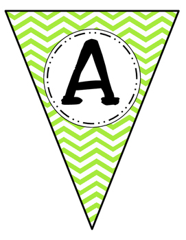 Banner Letters Pennants Lime Green Chevron