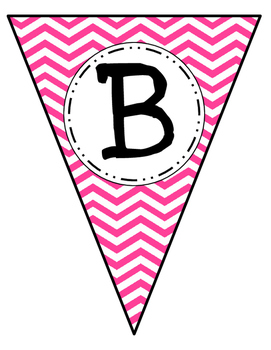 Banner Letters Pennants Pink Chevron
