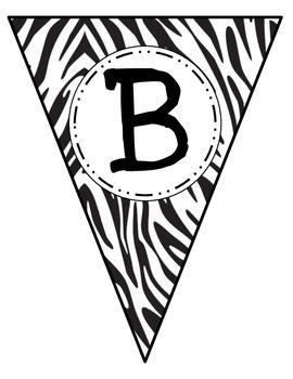 Banner Letters Pennants Zebra Print