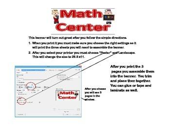 Banner-Math Center -Scarecrow Theme