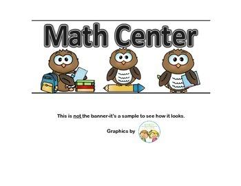 Banner-Math Center With an Owl Theme