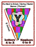 Banner Pennant Set Bright Colors Entire Alphabet & Numbers - Easter Spring