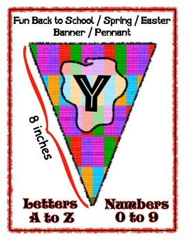 Banner Pennant Set Bright Colors Entire Alphabet & Numbers