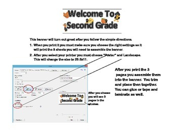 """Banner  """"Welcome to Second Grade!"""" Back-to-School- Scarecrow Theme"""