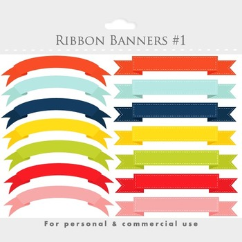 Banner clipart, stitched ribbon flags, digital ribbon clip art, tags, colorful