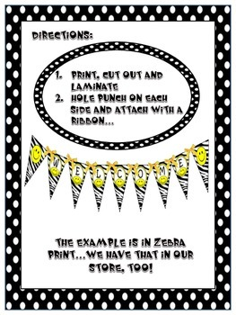 Banner in BW Polka Dot Print with Kids ~ Alphabet, Numbers, Grade levels