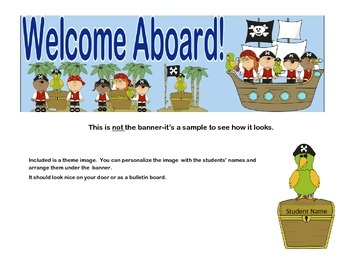 Banner or Bulletin Board Heading With a Welcome Aboard Pirate Theme