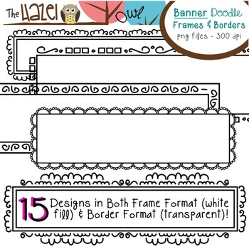 Banner/Header/Rectangular Doodle Frames & Borders Set: Graphics for Teachers