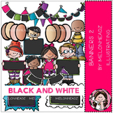 Banners clip art Part 2 - BLACK AND WHITE- by Melonheadz