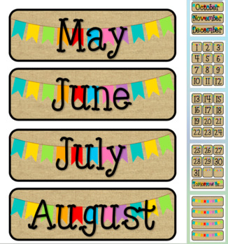 Banners & Burlap Themed Pocket Chart Subject Schedule Cards and Calendar