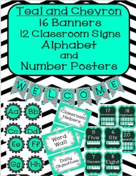 Banners, Center Posters, Alphabet and Number Posters- Teal and Chevron