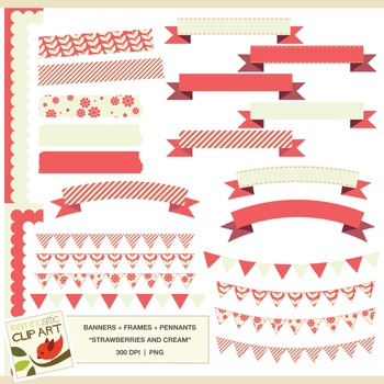 Banners, Frames, Pennants: Clip Art in Strawberries & Cream