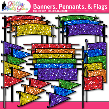 Banners, Pennants, & Flags Clip Art {Rainbow Graphics for School Pride & Band}