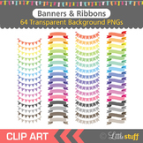 Banners and Ribbons Clipart, Flags, Bunting Banners, Rainbow Colors Clip Art