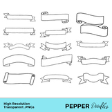 Banners and Ribbons - Doodle Clipart - Transparent PNGs