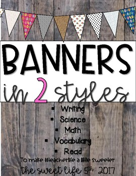 Banners in Floral, B & W, and rustic styles