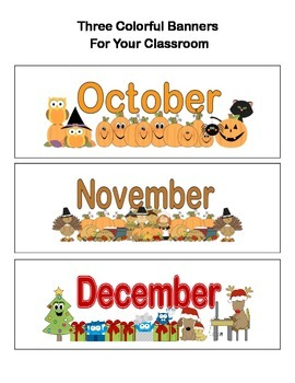 Banners or Bulletin Board Headings For 3 Months-Oct.Through Dec.