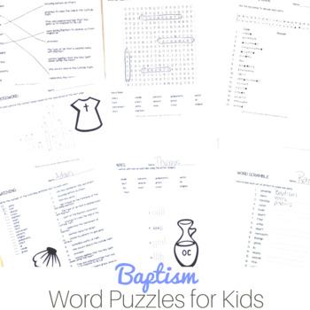 Baptism Word Puzzles for Catholic Kids