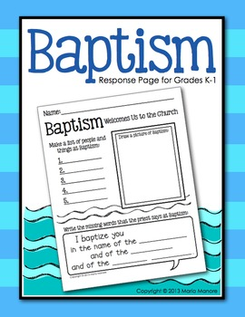 Baptism Writing Response Page for Grades K-1