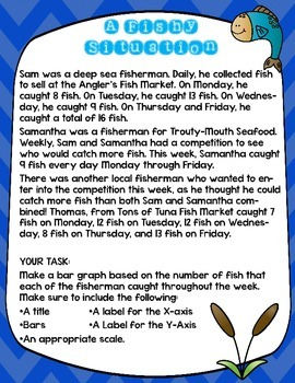 Bar Graph Story Problem: A Fishy Situation for Grades 3-5 (Review or Homework)