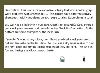 Bar Graph Word Problems with Answers to 10-Lock Box Escape Room