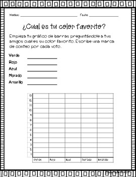 Bar Graphs Packet! - Graficos de Barras