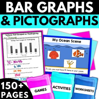 Bar Graphs and Pictographs - Graphing Activities Worksheets Games