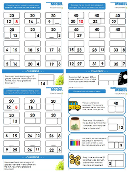 Bar Model Addition and Subtraction Practise and Word Problems Bundle