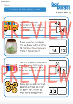 Bar Model Addition and Subtraction Practise and Word Problems: Grades 2 - 3