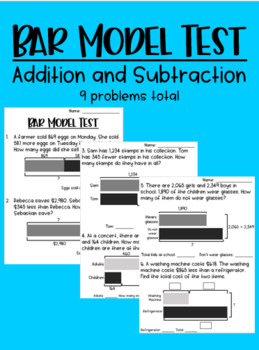 Bar Model Test (addition and subtraction)