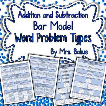 Bar Model Word Problem Types Addition and Subtraction Strip Model Tape Model