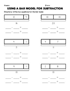 Bar Model Subtraction Worksheets & Teaching Resources | TpT
