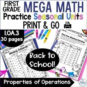 First Grade Math Number Sense Mega Math Practice Seasonal Units Bundle