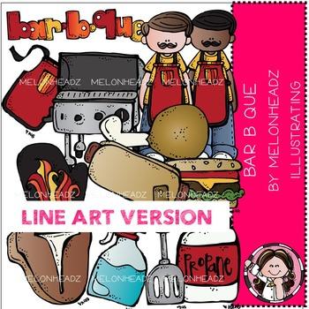 Bar B Que clip art - LINE ART- by Melonheadz