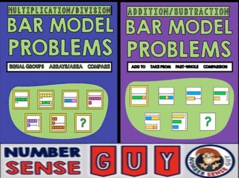 Bar model bundle (Multiplication, Division, Addition and Subtraction)