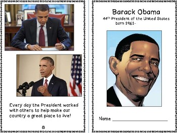 Barack Obama - 44th President of the U.S. Reproducible Mini Book