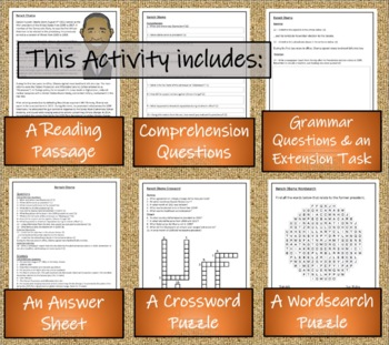 Barack Obama 5th Grade & 6th Grade Close Reading Activity