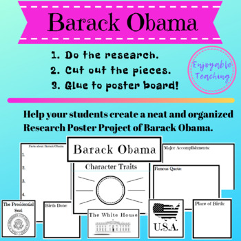 Barack Obama Biography Research Poster Kit