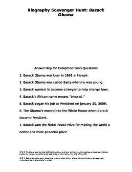 Barack Obama Biography Scavenger Hunt