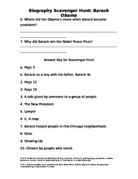 Barack Obama Biography Scavenger Hunt