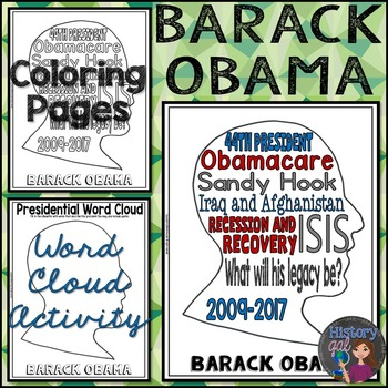 Barack Obama Coloring Page and Word Cloud Activity