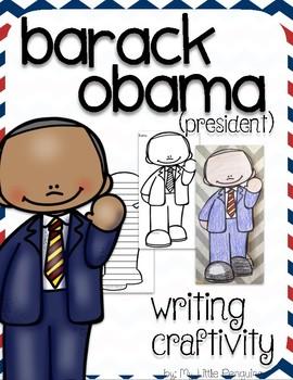 """Barack Obama """"Craftivity"""" Writing page (President)"""