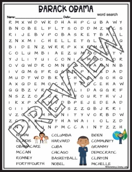 Barack Obama Activities Crossword Puzzle and Word Search Find