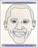 Barack Obama Face Cut Out for Paperbag Puppet