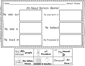 graphic regarding Printable Foldables known as Barack Obama Foldable Emergent Reader ~Colour BW Products Moreover Printable