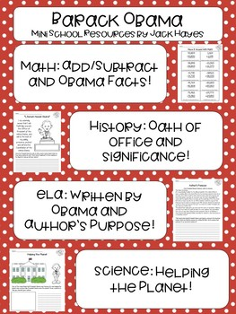 Barack Obama Mini Lessons Activities - All Four Subjects - President's Day