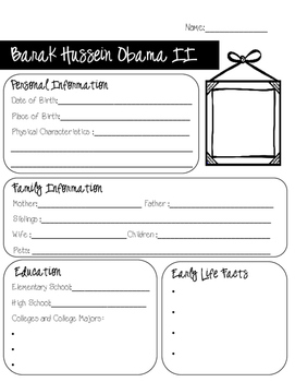 FREEBIE-President Obama Biography: Research Graphic Organizer