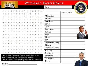 Barack Obama Wordsearch Black History Month Keywords Settler Homework Cover