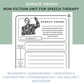 Barack Obama: comprehension, sequencing, vocabulary, & reasoning